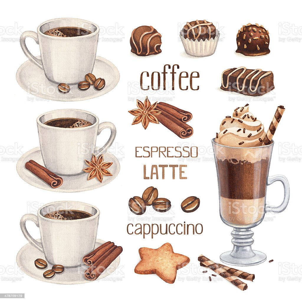 Watercolor illustrations of coffee cup and chocolate sweets vector art illustration