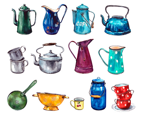 Watercolor illustration.set of enameled vintage multicolored dishes with traces of rust.Jugs for home decor.Old retro tableware.Isolated on a white background