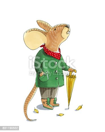 istock Watercolor illustratoin. Cute animal like humans. Humanized animal. The mouse is in a coat with an umbrella 831190532