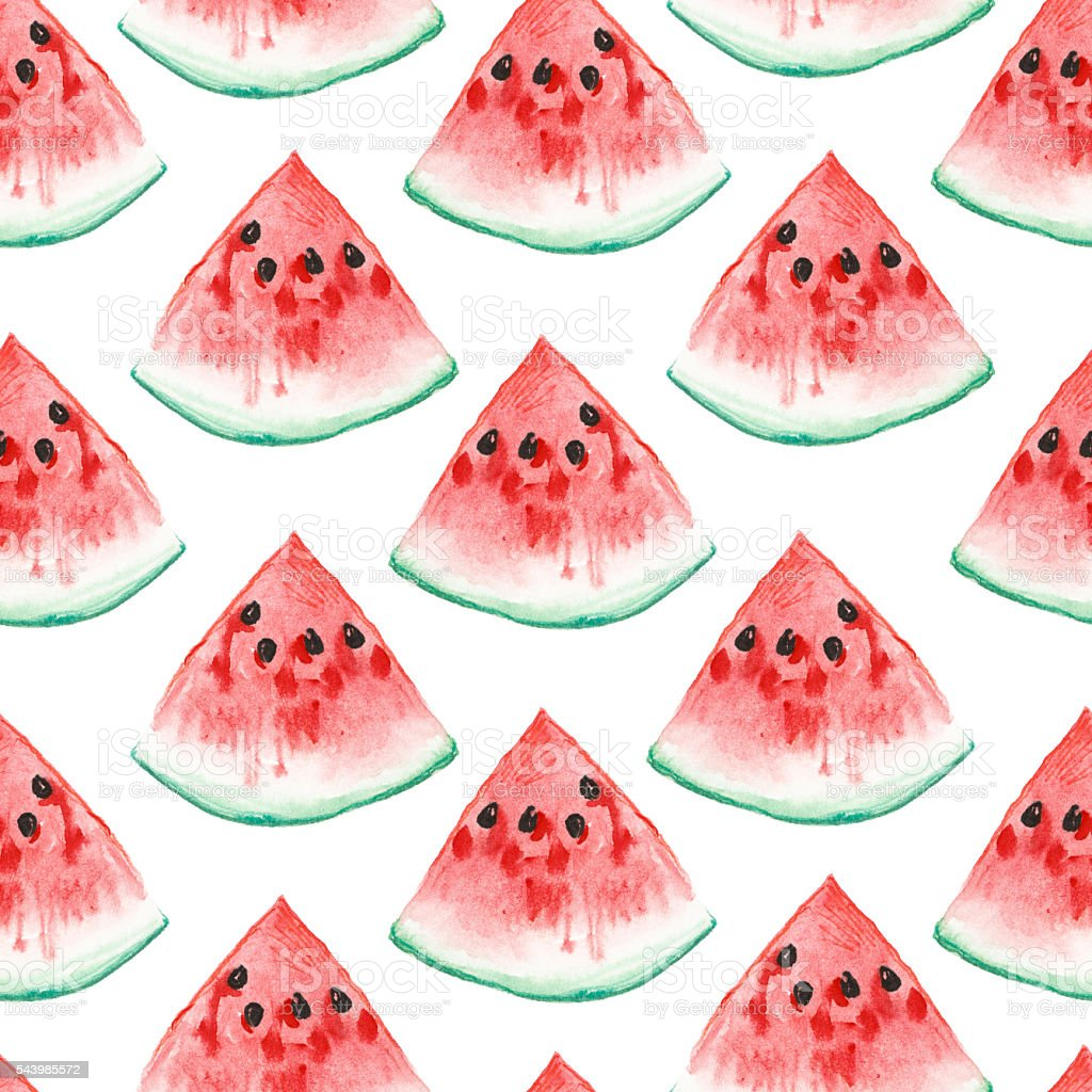 watercolor illustrtion. seamless pattern of aquarelle watermelon vector art illustration