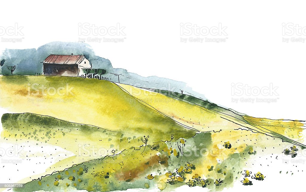 Watercolor image of a rural landscape vector art illustration
