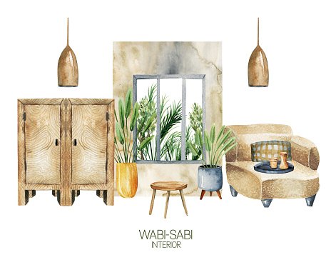 Watercolor interior scene of living room in wabi-sabi style, simple living concept, hand drawn illustration on white background