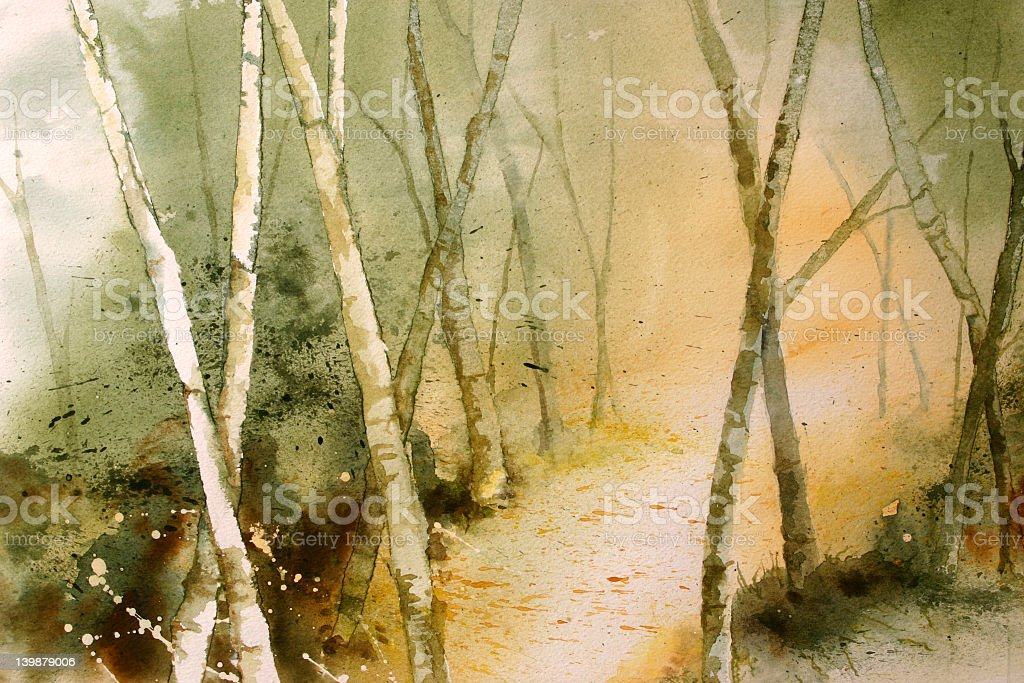 Watercolor: 'Into the light' royalty-free stock vector art
