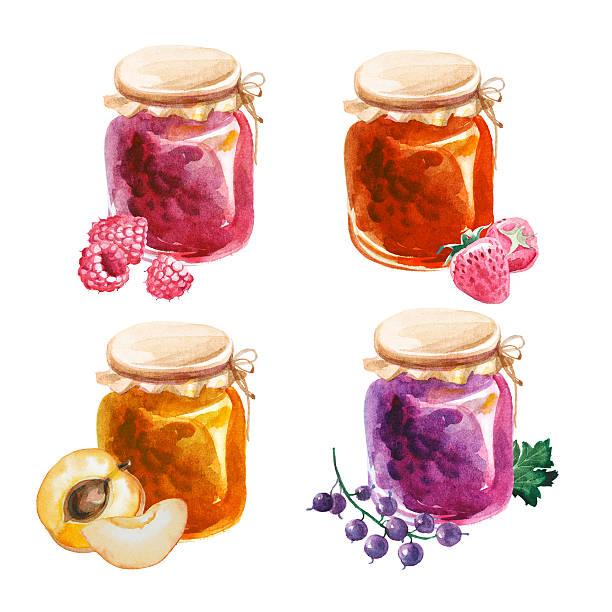ilustrações de stock, clip art, desenhos animados e ícones de compota de aguarela de potes isolado num fundo branco - jam jar