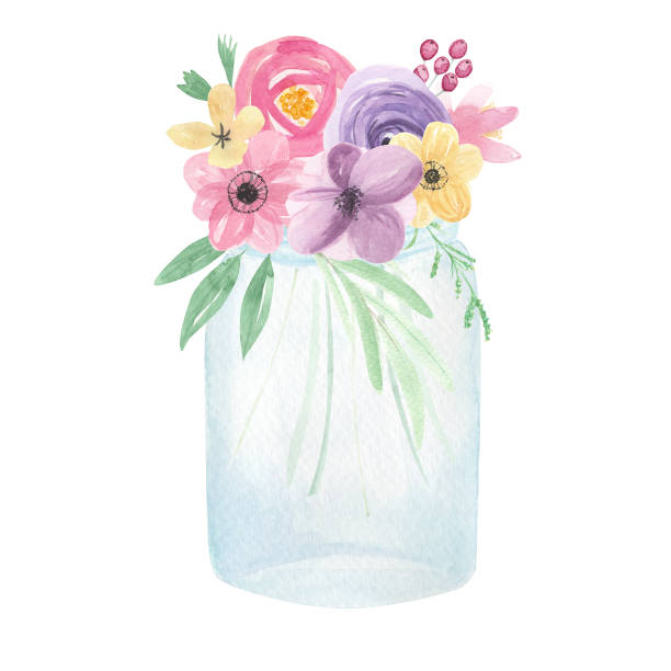 Watercolor Jars Flowers Blue Clear Florals Berries Pretty Spring Summer Vector Art Illustration