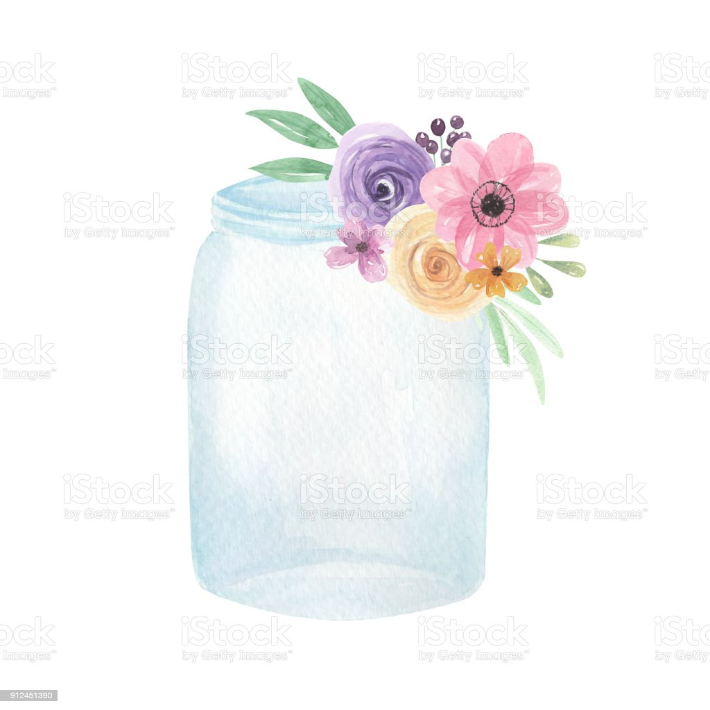 Watercolor Jars Flowers Florals Berries Pretty Spring ...