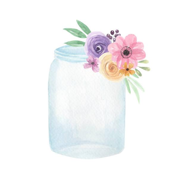 Mason Jar With Flowers Illustration