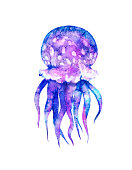 Watercolor jellyfish in modern bright neon colors isolated on white background underwater vivid illustration in large size Design element in magic style, purple blue violet glow pink fluid colorful