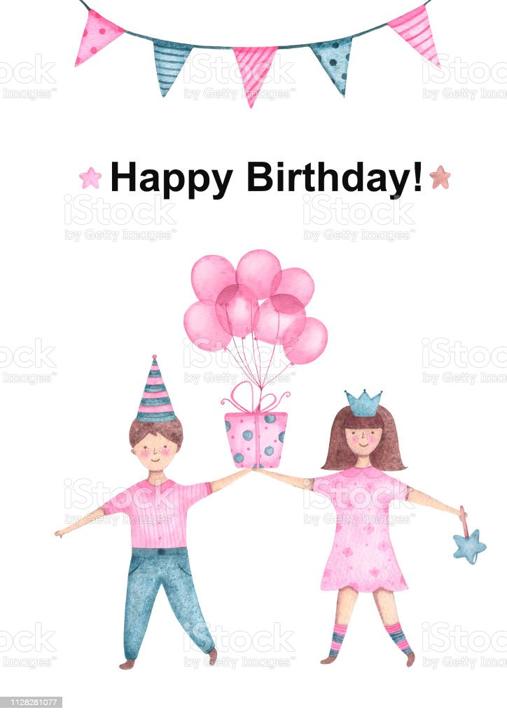 Watercolor Kids Boy And Girl Holding Gift With Balloon In Hand For