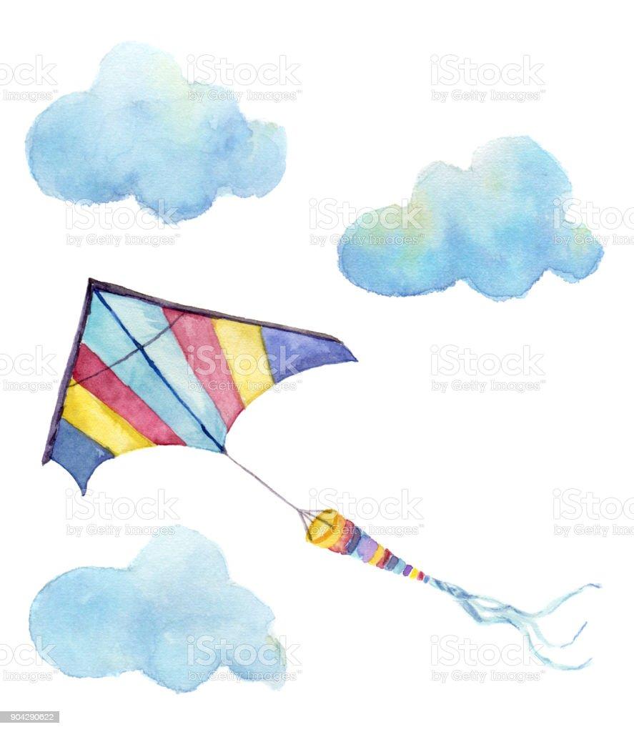 Suluboya Uçurtma Hava Set El Vintage Uçurtma Bulutlar Ve Retro