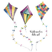 Watercolor kite set with vintage design. Hand painted illustrations isolated on white background. For design or print
