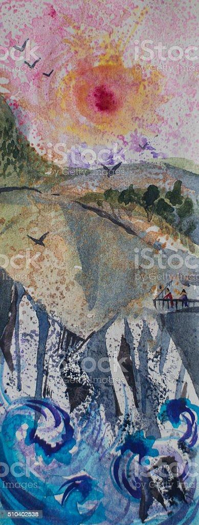 Watercolor landscape and seascape with blue, waves, rocks, hills vector art illustration