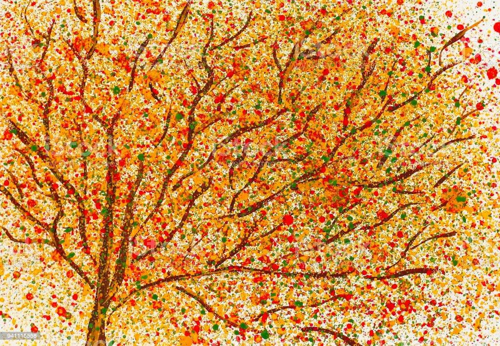 Aquarell Landschaft Herbst Baum Stock Vektor Art Und Mehr Bilder Von