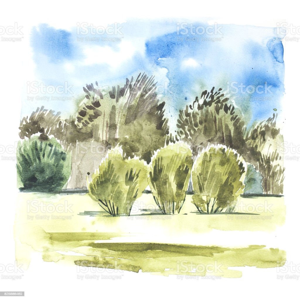 Watercolor Landscape With Blue Sky Clouds Green Glade With Bushes ...