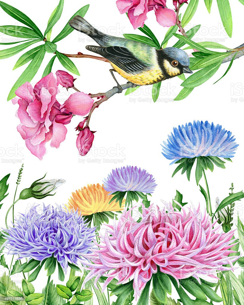 Watercolor landscape with little bird and beautiful flowers stock watercolor landscape with little bird and beautiful flowers royalty free watercolor landscape with little bird izmirmasajfo