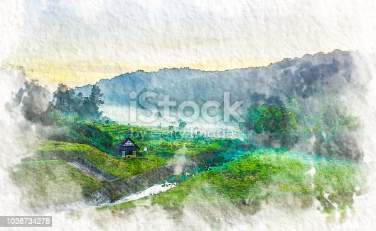 istock Watercolor landscape with old cabin and beautiful mountains view in sunrise time. 1038734278