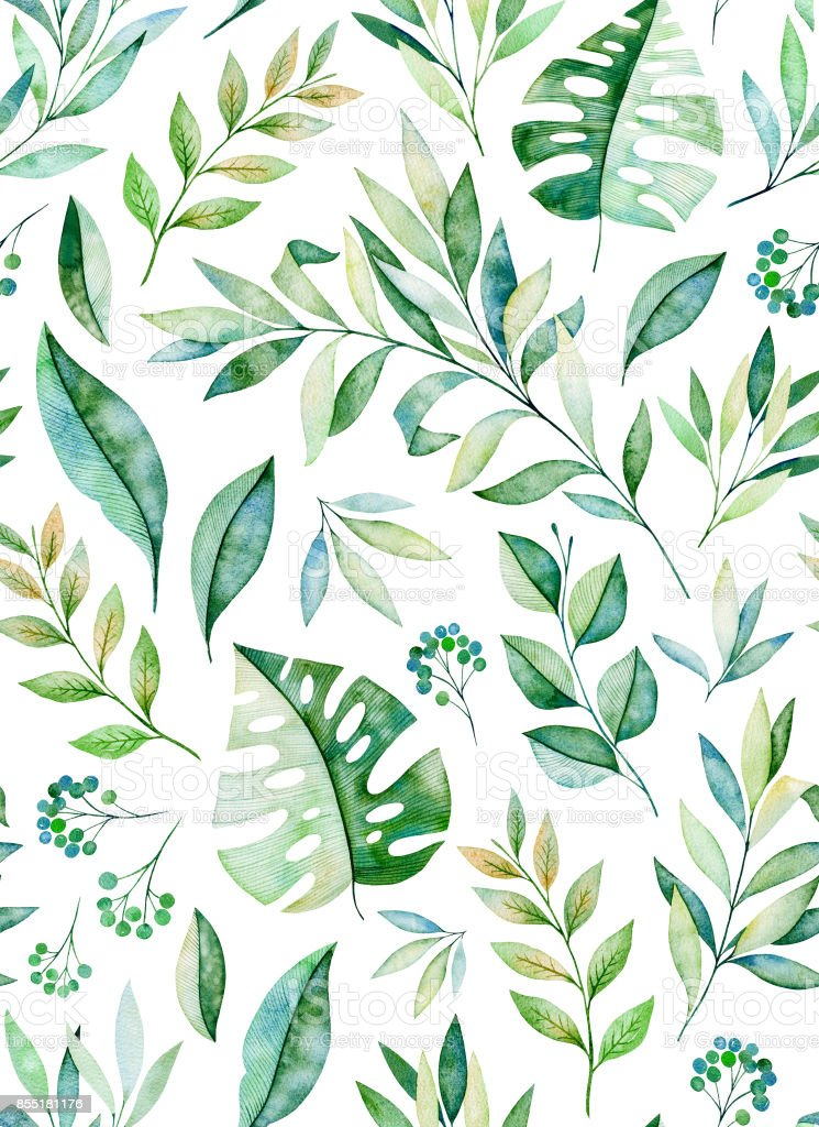 0f803e5414f1 Watercolor Leaves Branch Seamless Pattern On White Background Stock ...