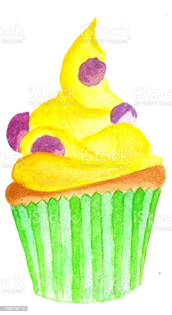 Watercolor Lemon Cupcake Stock Illustration Download Image Now