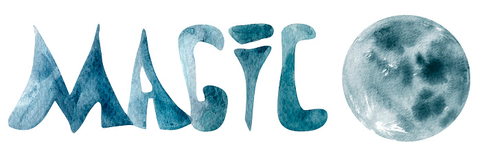 Watercolor lettering magic and blue moon