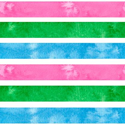 Watercolor LGBT, polysexual pride rainbow flag. Pattern of gay pride design grunge element. LGBTQ+ digital paper