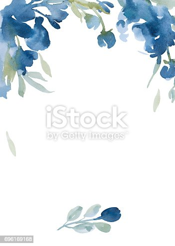 Watercolor Light Blue Flowers With Gray Grass On White