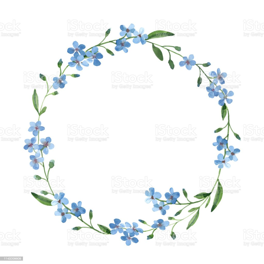 watercolor light blue wreath of forget-me-not with green leaves on...