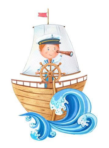 Petit Capitaine Daquarelle Au Volant Sur Le Bateau En Bois Dahoy Garcon Mignon De Dessin Anime