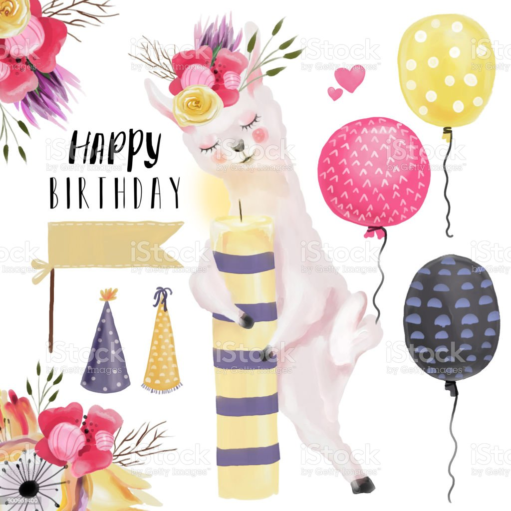 Watercolor Llama Alpaca With Flowers Wreath Bouquet And Candle Happy Birthday