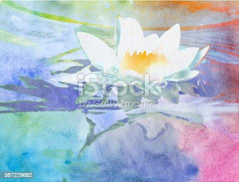 istock watercolor lotus 587229682