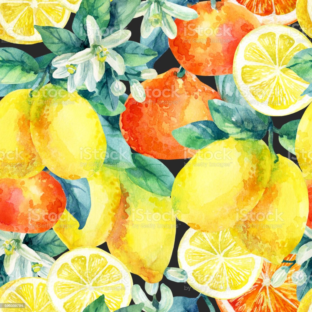 Watercolor mandarine orange and lemon fruit branch seamless pattern royalty-free watercolor mandarine orange and lemon fruit branch seamless pattern stock vector art & more images of backgrounds