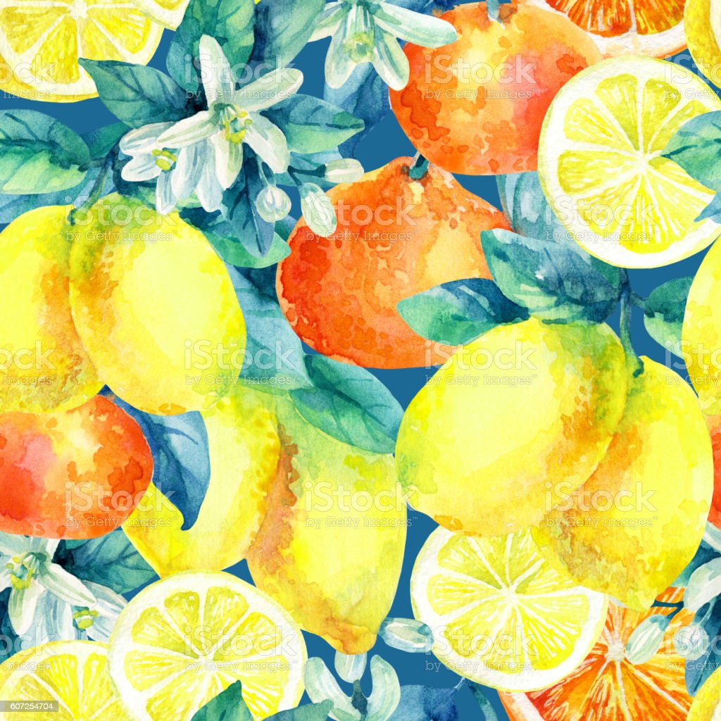 Watercolor mandarine orange and lemon fruit seamless pattern vector art illustration