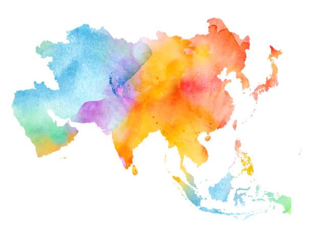 アジアの水彩画の白、側面の図。 - アジア地図点のイラスト素材/クリップアート素材/マンガ素材/アイコン素材