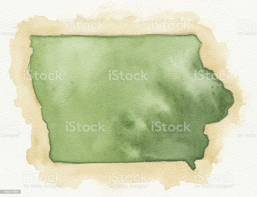 Watercolor Map of Iowa royalty-free stock vector art