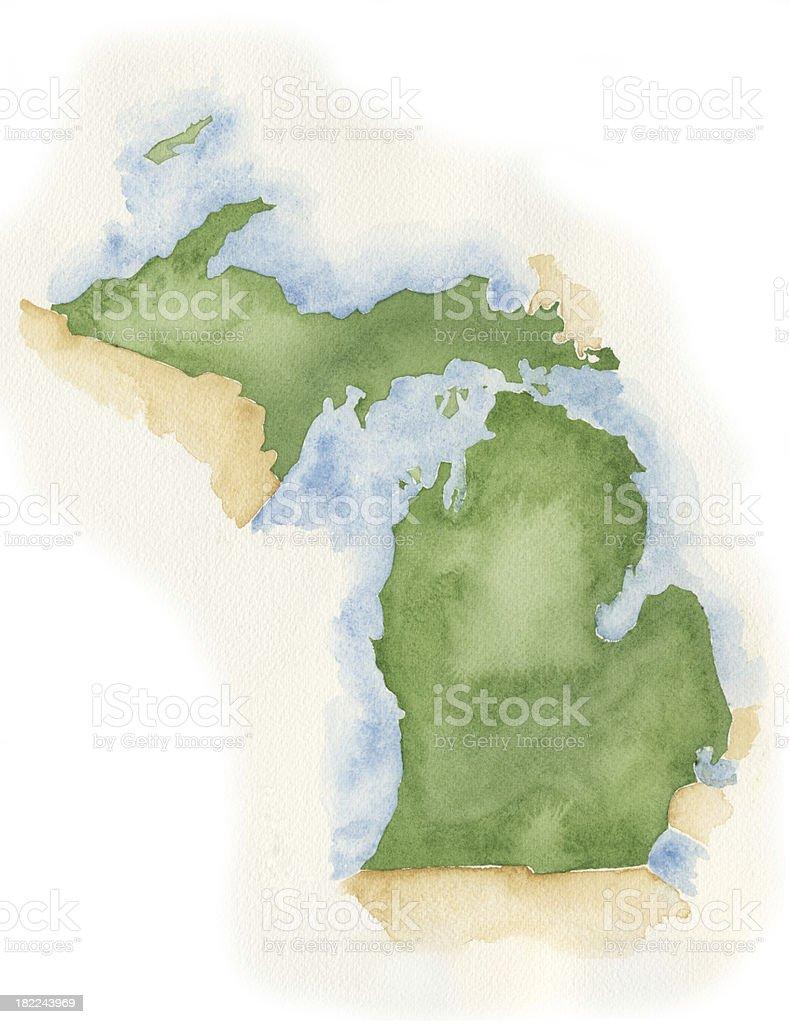 Watercolor Map of Michigan vector art illustration