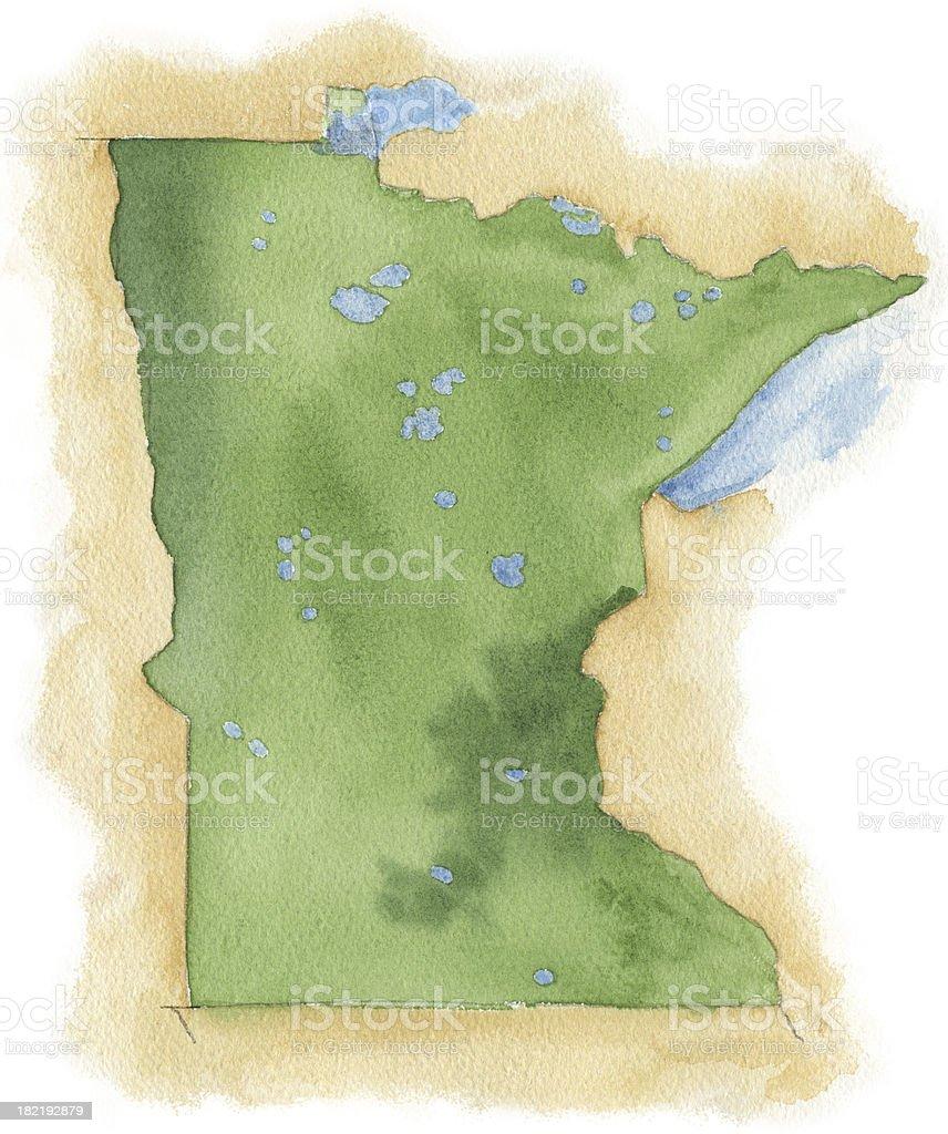 Watercolor Map of Minnesota vector art illustration