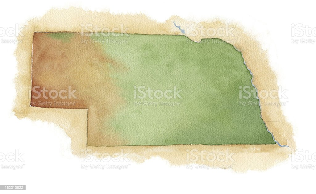 Watercolor Map of Nebraska vector art illustration