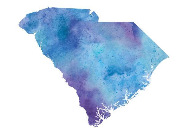 Watercolor Map of South Carolina in Blue and Purple - Raster Illustration A highly detailed watercolor map of the US State of South Carolina with a multicoloured, blue and purple hand painted watercolor texture. Map is isolated on a white background.  south carolina stock illustrations