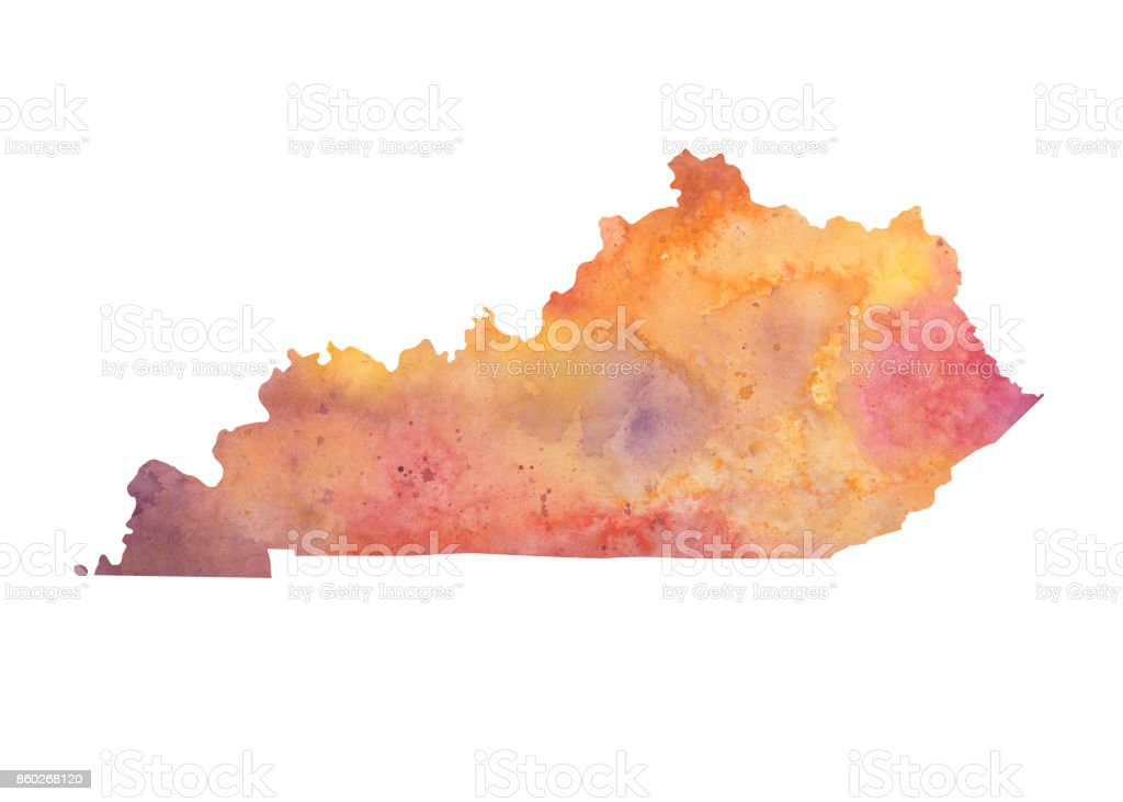 Watercolor Map Of The Us State Of Kentucky In Autumn Colors Stock - Watercolor us map