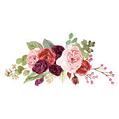 Watercolor Marsala Roses
