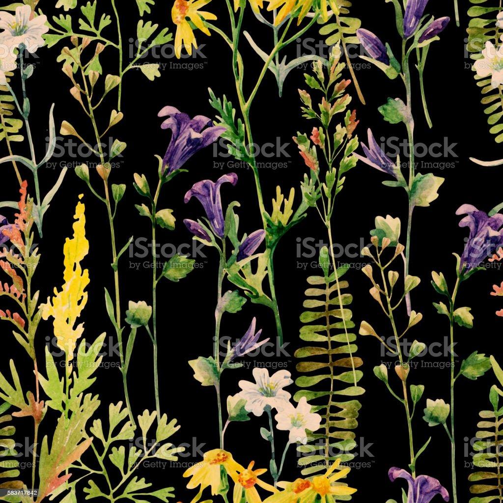 Watercolor meadow flowers seamless pattern vector art illustration