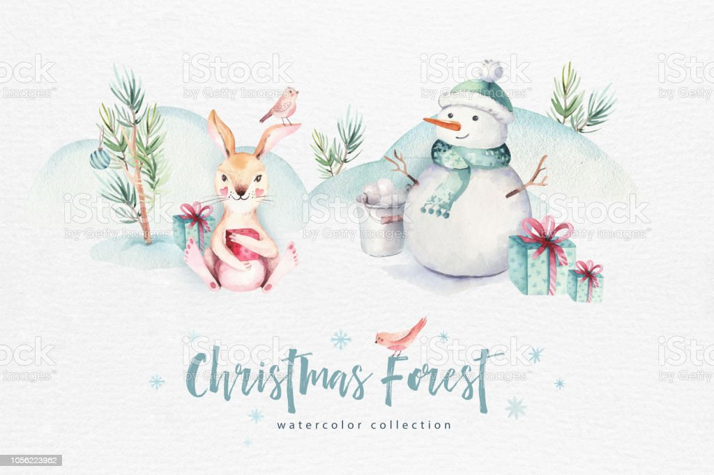 Merry Christmas Illustration.Watercolor Merry Christmas Illustration With Snowman Holiday