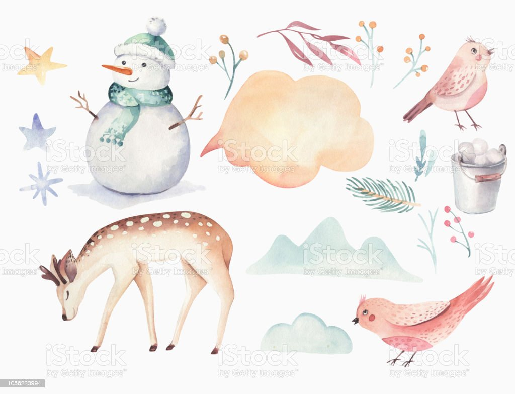 雪だるまホリデイ かわいい動物の鹿ウサギの水彩画メリー クリスマス
