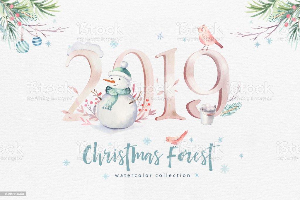 Weihnachtskarten Tiere.Aquarell Frohe Weihnachten Illustration Mit Schneemann Urlaub Niedlichen Tiere Rehe Kaninchen Weihnachtskartenfeier Winterneujahrdesign Stock Vektor