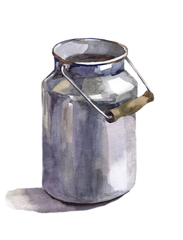 Watercolor milk can on white background illustration
