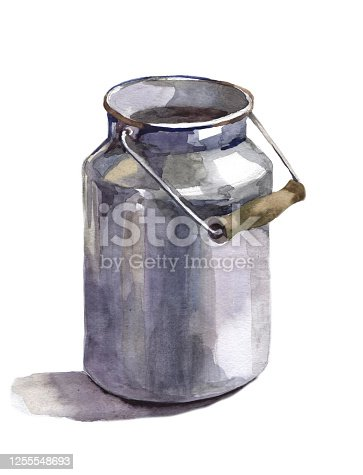 Hand painted watercolor metal milk can on white background illustration for all print