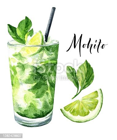 istock Watercolor mojito cocktail isolated on white background. Hand drawn drink illustration. 1282428607