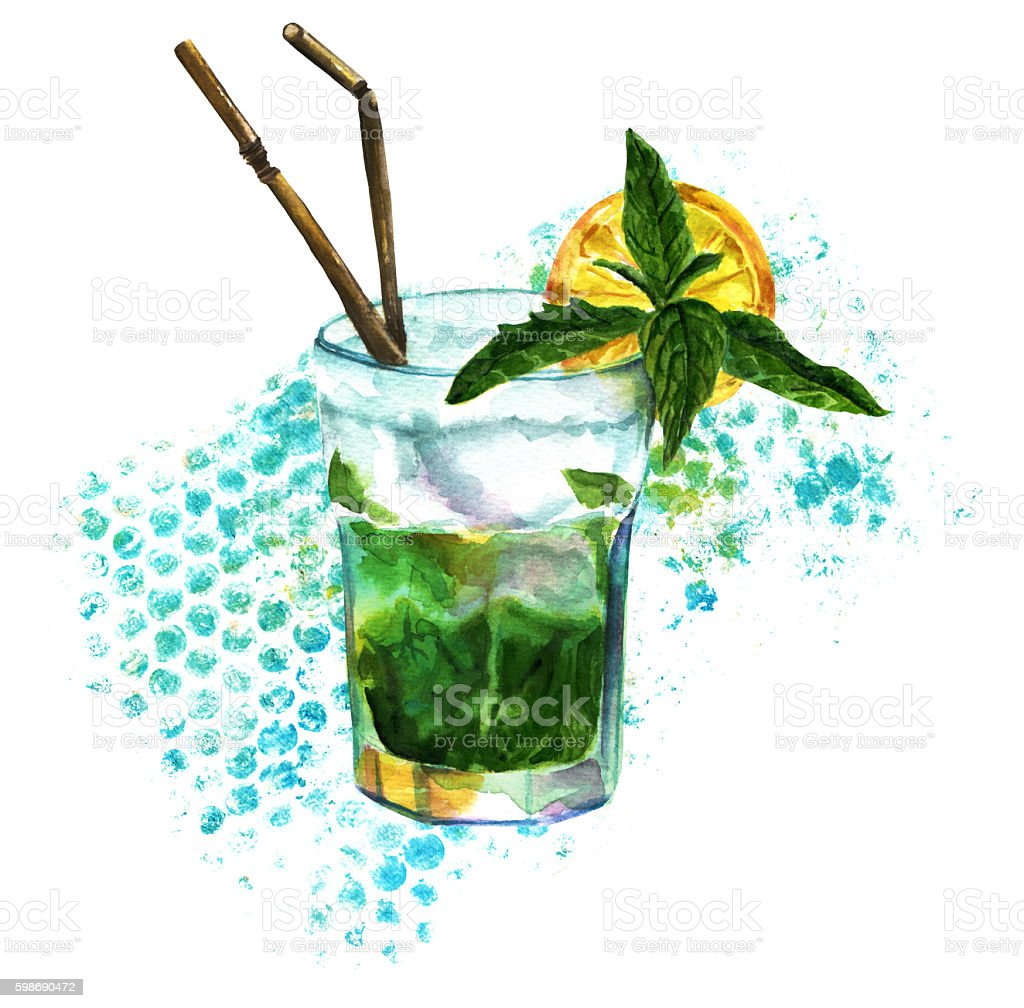 Watercolor mojito cocktail with abstract teal blue dots texture vector art illustration
