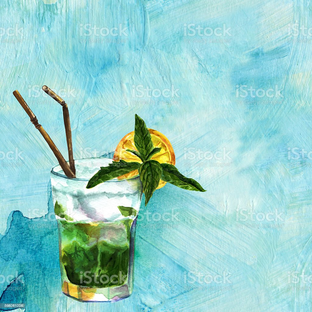 Watercolor mojito cocktail with lemon and straws on teal blue vector art illustration