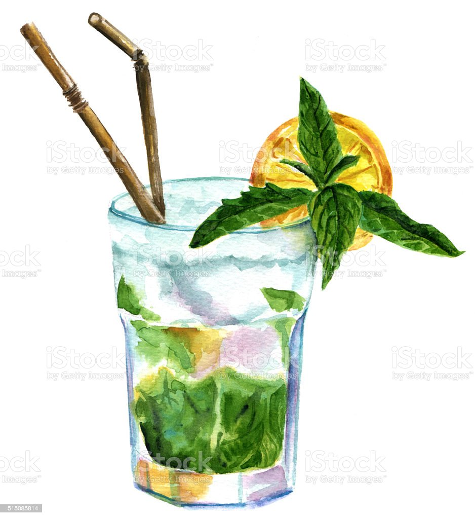 Watercolor mojito cocktail with mint, lemon, and drinking straws vector art illustration
