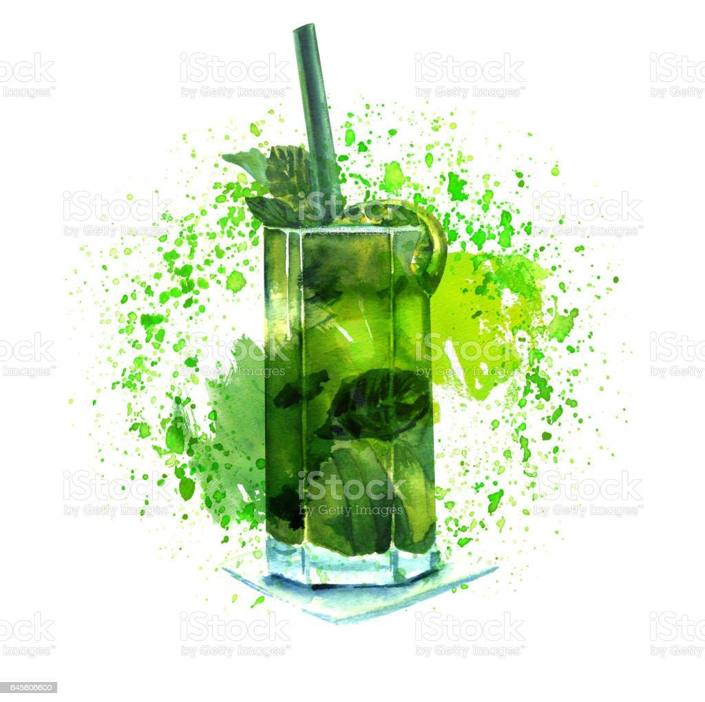 Watercolor mojito cocktail with texture and copyspace - illustrazione arte vettoriale